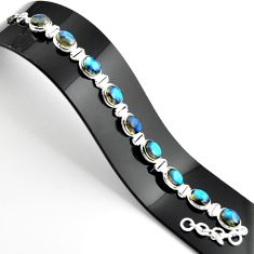 925 sterling silver 38.19cts natural blue labradorite tennis bracelet r39064
