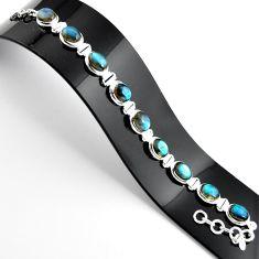 925 sterling silver 38.19cts natural blue labradorite tennis bracelet r39071