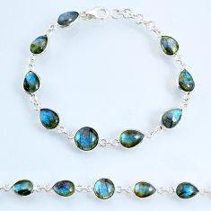 925 sterling silver 23.13cts natural blue labradorite tennis bracelet r69395