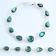 925 sterling silver 22.57cts natural blue labradorite tennis bracelet r69400