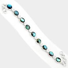 925 sterling silver 37.86cts natural blue labradorite tennis bracelet r84308