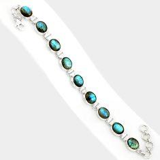 925 sterling silver 38.31cts natural blue labradorite tennis bracelet r84312