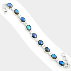 925 sterling silver 37.86cts natural blue labradorite tennis bracelet r84316