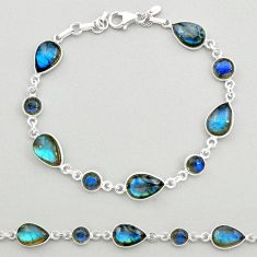 925 sterling silver 23.48cts natural blue labradorite tennis bracelet t19611