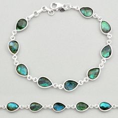 925 sterling silver 22.05cts natural blue labradorite tennis bracelet t19615