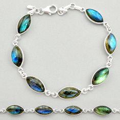 925 sterling silver 24.38cts natural blue labradorite tennis bracelet t19619