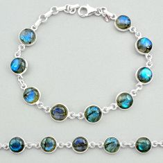 925 sterling silver 24.52cts natural blue labradorite tennis bracelet t19644