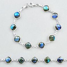 925 sterling silver 27.10cts natural blue labradorite tennis bracelet t48727