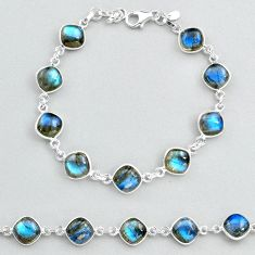 925 sterling silver 27.08cts natural blue labradorite tennis bracelet t48733