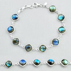 925 sterling silver 27.69cts natural blue labradorite tennis bracelet t48736