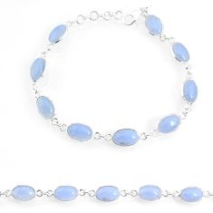 925 sterling silver 16.70cts natural blue lace agate tennis bracelet r74667