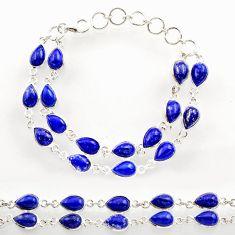 925 sterling silver 36.09cts natural blue lapis lazuli tennis bracelet r27564