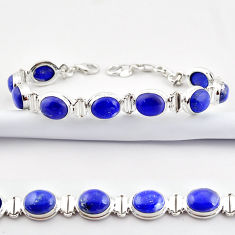 925 sterling silver 38.31cts natural blue lapis lazuli tennis bracelet r38913