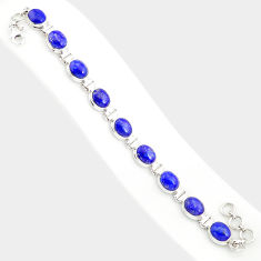 925 sterling silver 37.88cts natural blue lapis lazuli tennis bracelet r84288