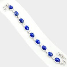925 sterling silver 37.49cts natural blue lapis lazuli tennis bracelet r84292