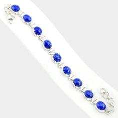 925 sterling silver 37.43cts natural blue lapis lazuli tennis bracelet r84300
