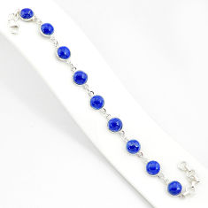 925 sterling silver 25.93cts natural blue lapis lazuli tennis bracelet r84898