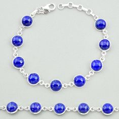 925 sterling silver 25.33cts natural blue lapis lazuli tennis bracelet t19684