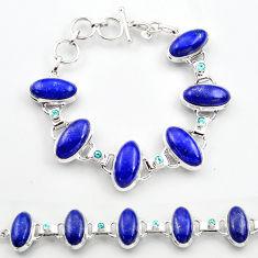 925 sterling silver 61.59cts natural blue lapis lazuli topaz bracelet r30760
