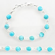 925 sterling silver 29.75cts natural blue larimar tennis bracelet jewelry r27584