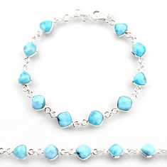 925 sterling silver 24.35cts natural blue larimar tennis bracelet jewelry r38224