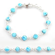 925 sterling silver 25.00cts natural blue larimar tennis bracelet jewelry r38229