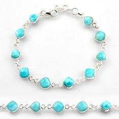 925 sterling silver 25.57cts natural blue larimar tennis bracelet jewelry r38232