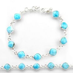 925 sterling silver 22.87cts natural blue larimar tennis bracelet jewelry r38236