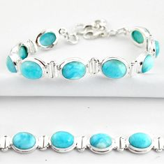 925 sterling silver 38.23cts natural blue larimar tennis bracelet jewelry r39044