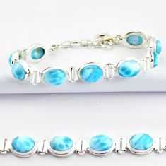 925 sterling silver 37.43cts natural blue larimar tennis bracelet jewelry r39048