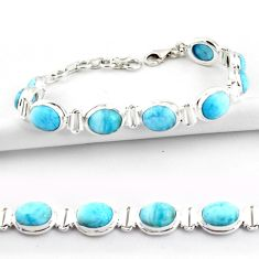 925 sterling silver 38.19cts natural blue larimar tennis bracelet jewelry r39053