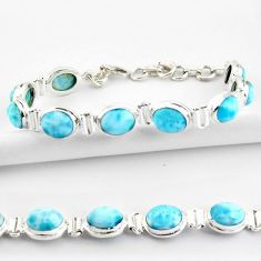 925 sterling silver 37.43cts natural blue larimar tennis bracelet jewelry r39057