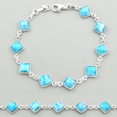 925 sterling silver 14.87cts natural blue larimar tennis bracelet jewelry t19464