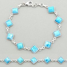 925 sterling silver 14.87cts natural blue larimar tennis bracelet jewelry t19469