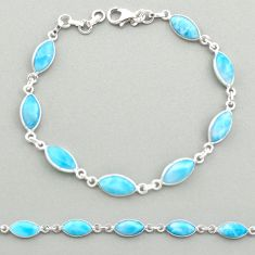 925 sterling silver 20.76cts natural blue larimar tennis bracelet jewelry t19477