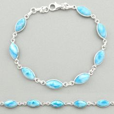 925 sterling silver 22.30cts natural blue larimar tennis bracelet jewelry t19480