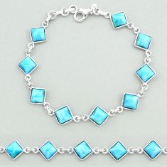925 sterling silver 16.11cts natural blue larimar tennis bracelet jewelry t19713