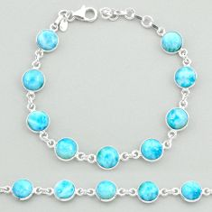 925 sterling silver 24.44cts natural blue larimar tennis bracelet jewelry t19718