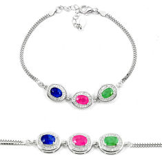925 sterling silver natural blue sapphire emerald ruby tennis bracelet c19652