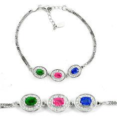 925 sterling silver natural blue sapphire emerald ruby tennis bracelet c19657