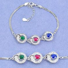 925 sterling silver natural blue sapphire emerald ruby tennis bracelet c19660