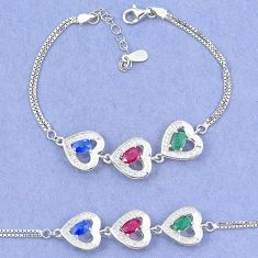 925 sterling silver natural blue sapphire emerald ruby tennis bracelet c19738