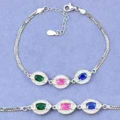 925 sterling silver natural blue sapphire emerald ruby tennis bracelet c19764