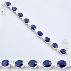 925 sterling silver 36.05cts natural blue sapphire oval tennis bracelet r56084