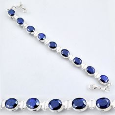 925 sterling silver 36.47cts natural blue sapphire oval tennis bracelet r56088