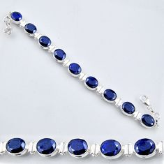 925 sterling silver 36.54cts natural blue sapphire oval tennis bracelet r56100