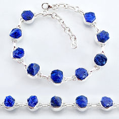 925 sterling silver 31.71cts natural blue sapphire raw tennis bracelet t7784