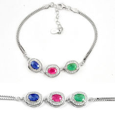 925 sterling silver natural blue sapphire ruby tennis bracelet a74460 c24943