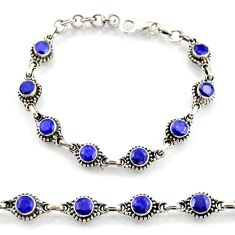 925 sterling silver 7.22cts natural blue sapphire tennis bracelet jewelry d45879