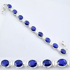 925 sterling silver 37.86cts natural blue sapphire tennis bracelet r56096